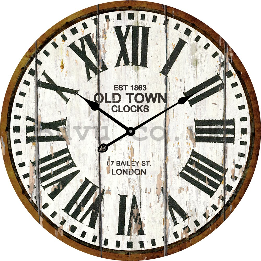 Glass wall clock - Old Town Clocks (White)