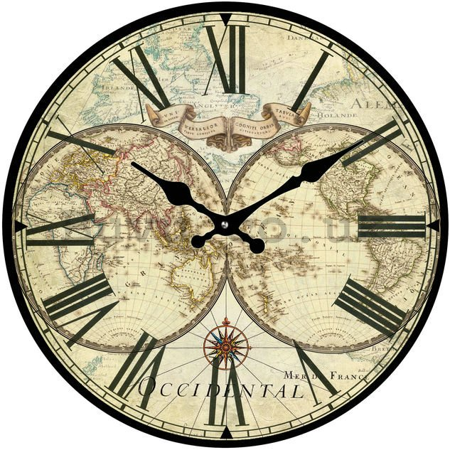 Glass wall clock - Historical Map (2)