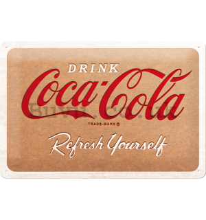 Metal sign: Coca-Cola Cardboard Logo - 20x30 cm