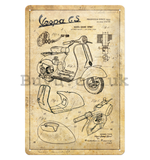 Metal sign: Vespa GS (Parts Sketches) - 30x20 cm