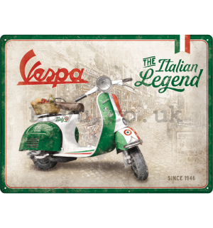 Metal sign: Vespa (The Italian Legend) - 30x40 cm