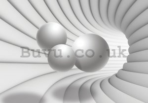 Wall mural vlies: 3D tunnel (white) - 416x254 cm