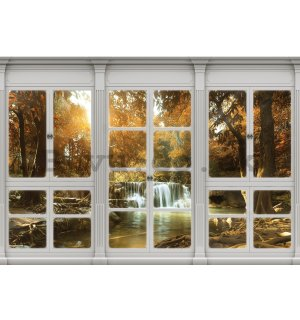 Wall mural vlies: Autumn waterfall (window view) - 416x254 cm