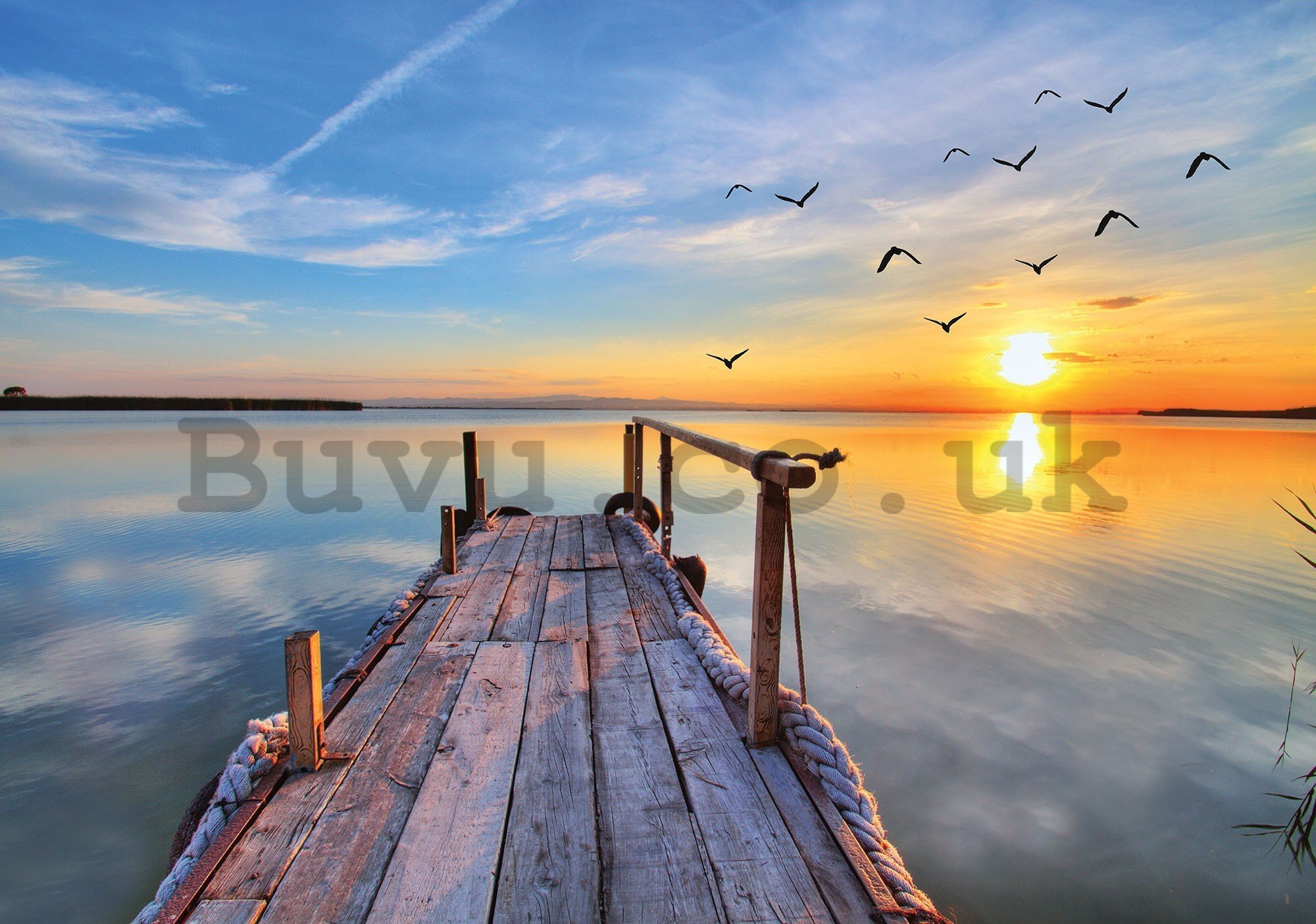 Wall mural vlies: A pier at sunset - 416x254 cm