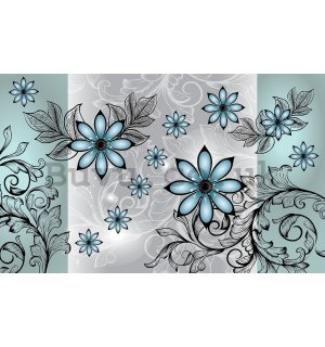 Wall mural vlies: Turquoise flowers - 416x254 cm