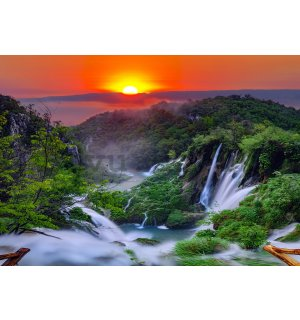 Wall mural vlies: Plitvice Lakes (sunrise) - 416x254 cm