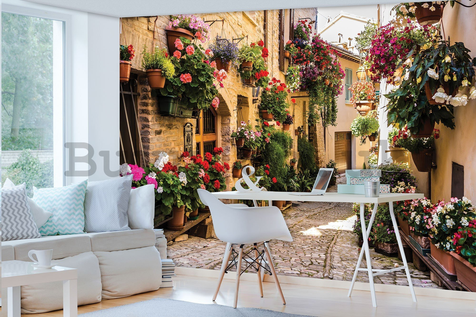 Wall mural vlies: Street with flowers - 416x254 cm