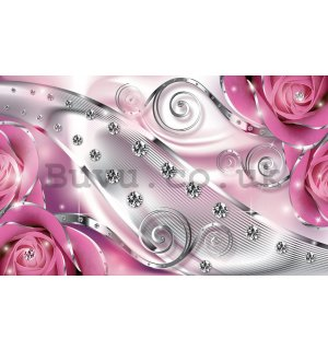 Wall mural vlies: Luxurious abstract (pink) - 416x254 cm
