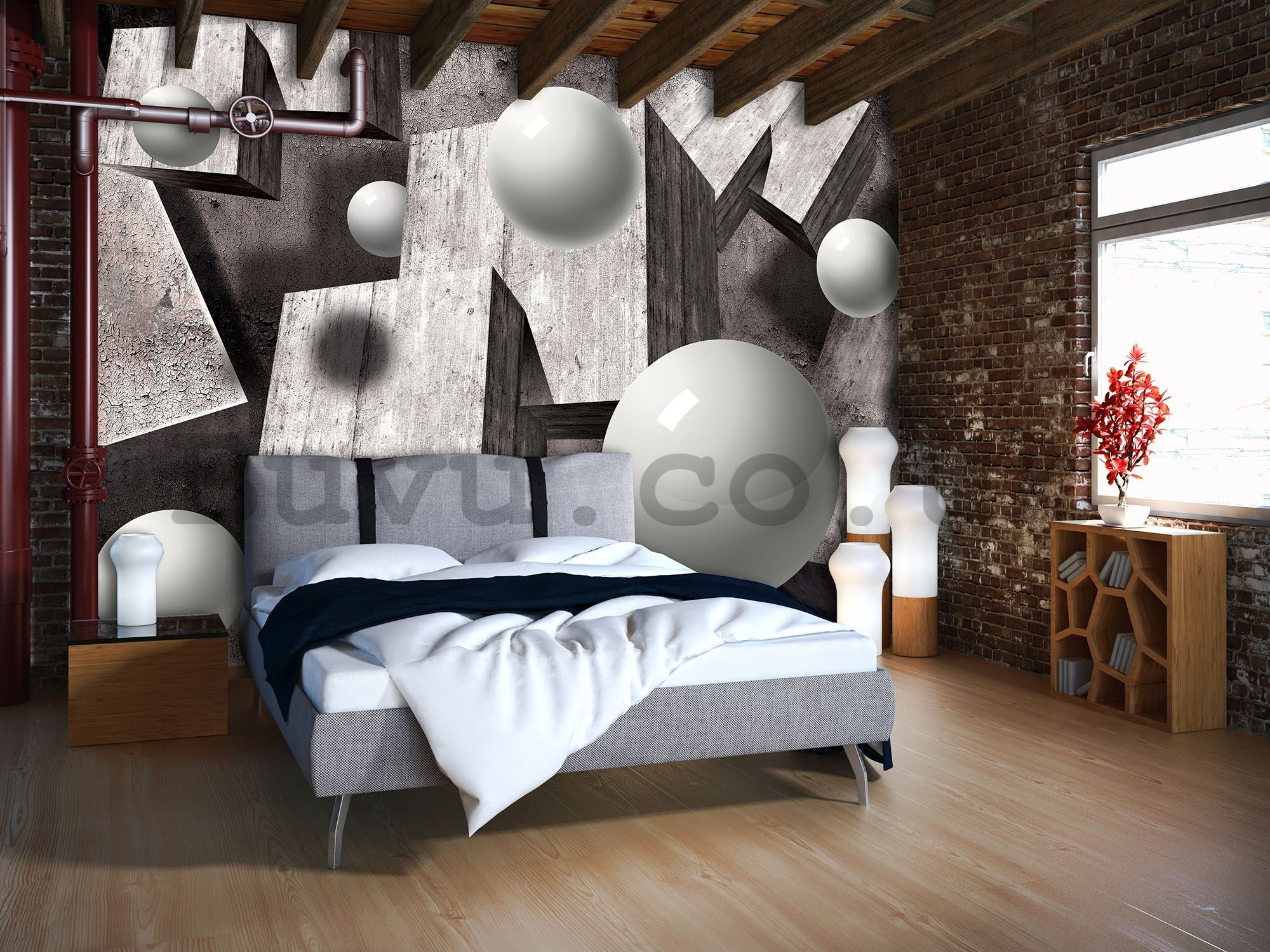 Wall mural vlies: Spheres and cubes - 416x254 cm