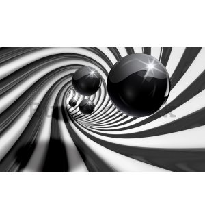 Wall mural vlies: Black marbles and spiral - 416x254 cm