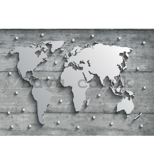 Wall mural vlies: Metal map of the world - 416x254 cm