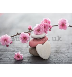 Wall mural vlies: Flowering cherry and heart - 416x254 cm