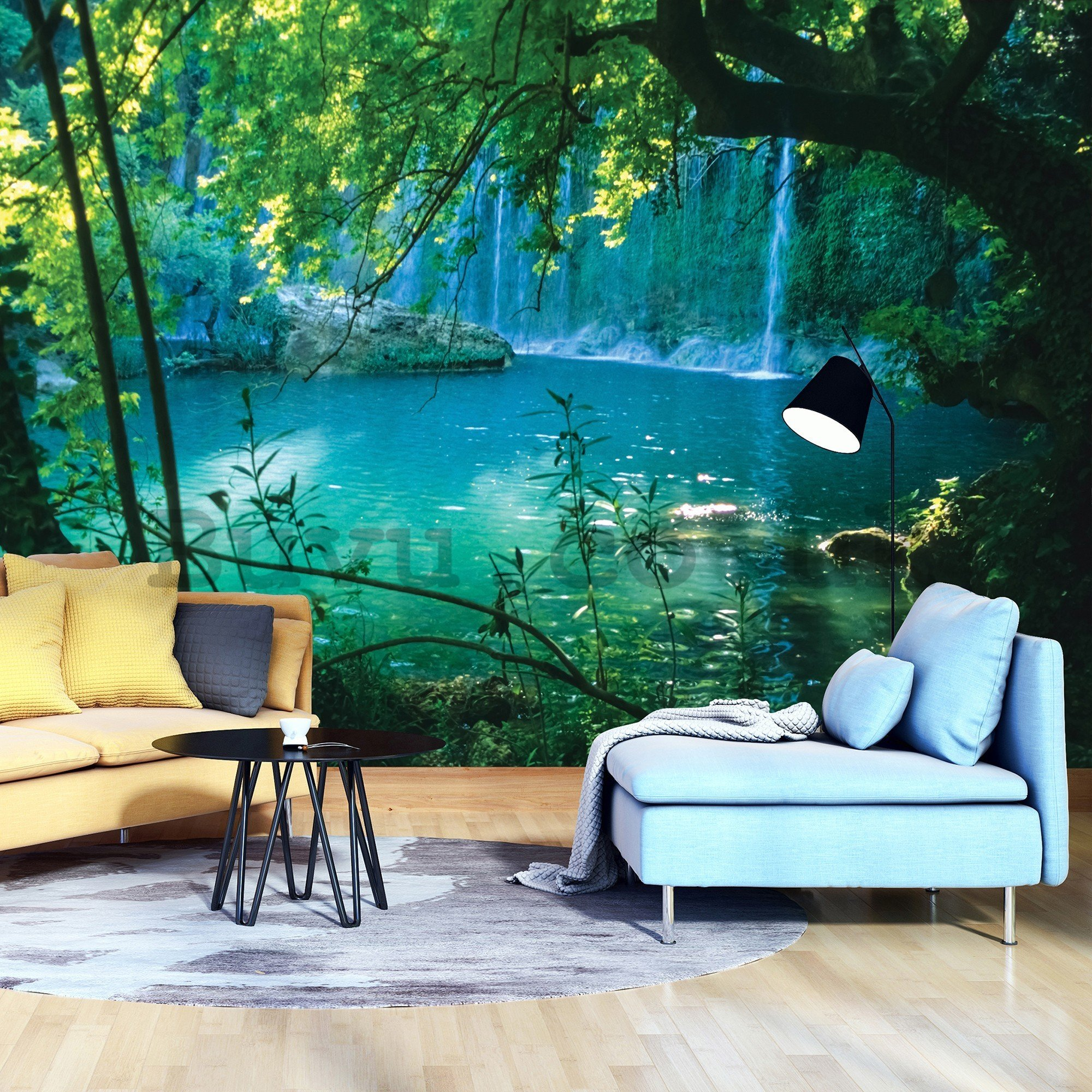 Wall mural vlies: Lake and waterfall - 416x254 cm