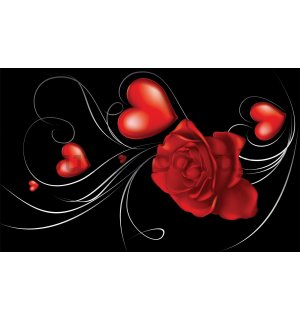 Wall mural vlies: Rose and Heart - 416x254 cm