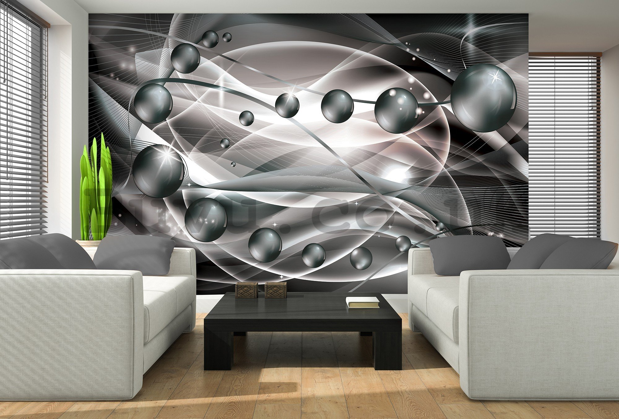 Wall mural vlies: Glossy abstract (grey) - 416x254 cm
