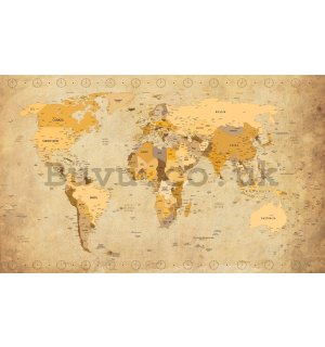 Wall mural vlies: Map of the world (Vintage) - 416x254 cm