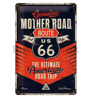 Metal sign: Route 66 (The Ultimate Road Trip) - 20x30 cm