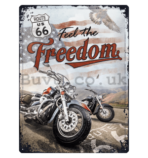 Metal sign: Route 66 (Freedom) - 30x40 cm