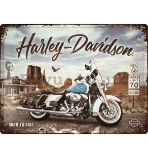 Metal sign: Harley-Davidson (King of Route 66) - 40x30 cm