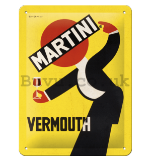 Metal sign: Martini (Vermouth Waiter Yellow) - 15x20 cm