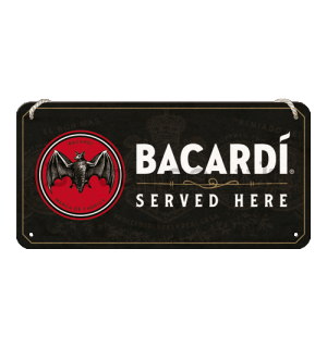 Wall hanging sign: Bacardi Served Here- 20x10 cm