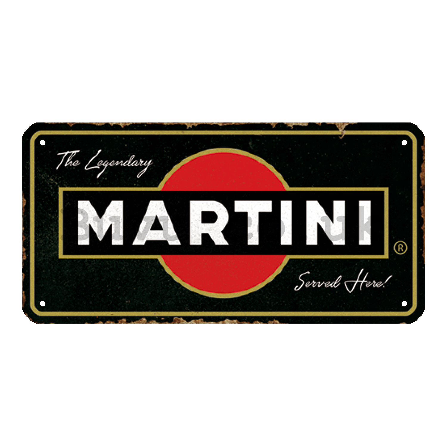 Wall hanging sign: Martini Served Here - 20x10 cm