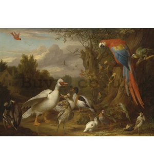 Wall mural: Ducks, Parrots, and Other Birds in a Landscape - 184x254 cm