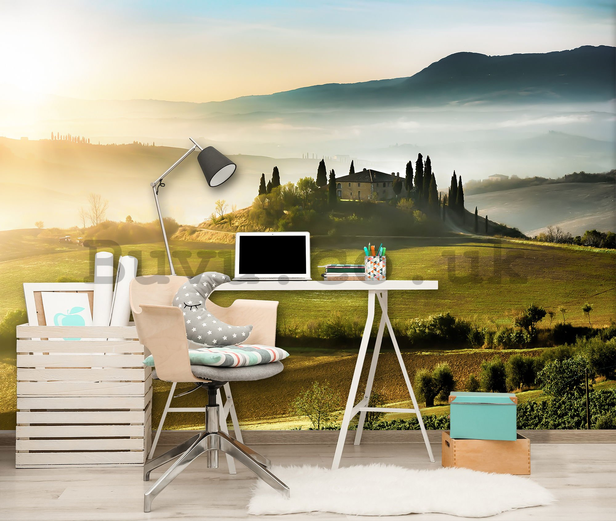 Wall mural: Tuscany Hill - 254x368 cm