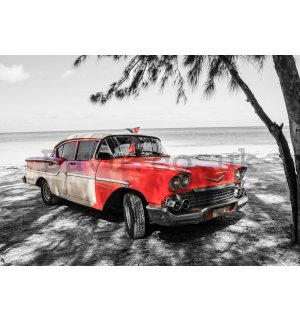 Wall mural vlies: Cuba red car by the sea - 254x368 cm