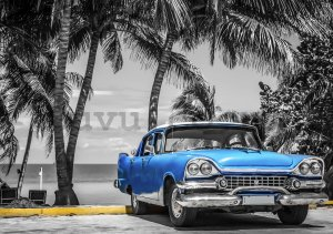 Wall mural vlies: Cuba blue car by the sea - 254x368 cm
