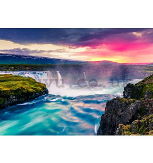 Wall mural: Waterfalls red sky - 104x152,5 cm
