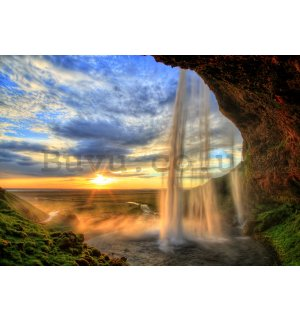 Wall mural: Waterfall at sunset - 104x152,5 cm