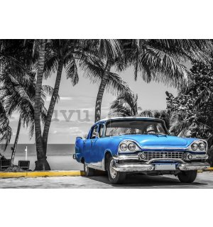 Wall mural vlies: Cuba blue car by the sea - 416x254 cm