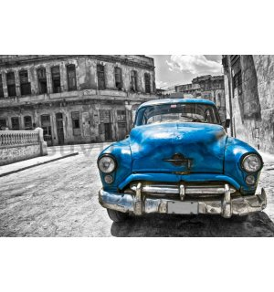 Wall Mural: American veteran car (blue) - 184x254 cm