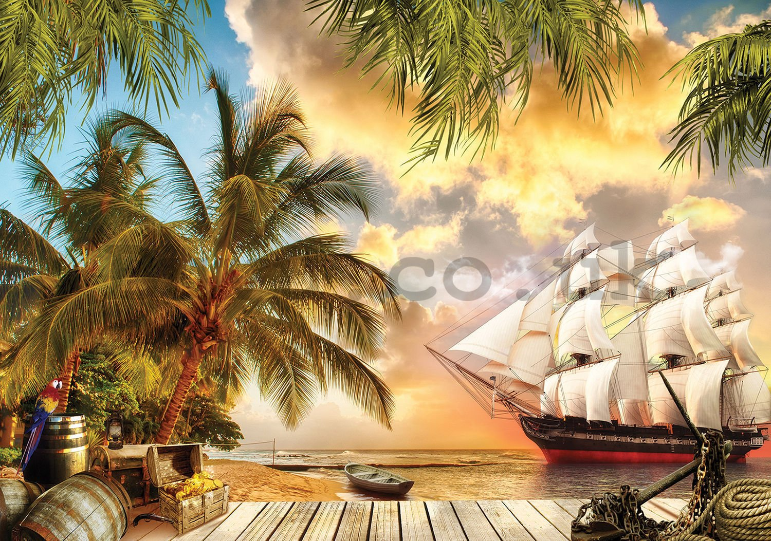 Wall mural vlies: Sailboat in paradise - 254x368 cm