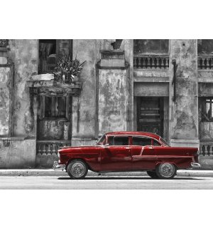 Wall mural: Cuban street red car - 184x254 cm