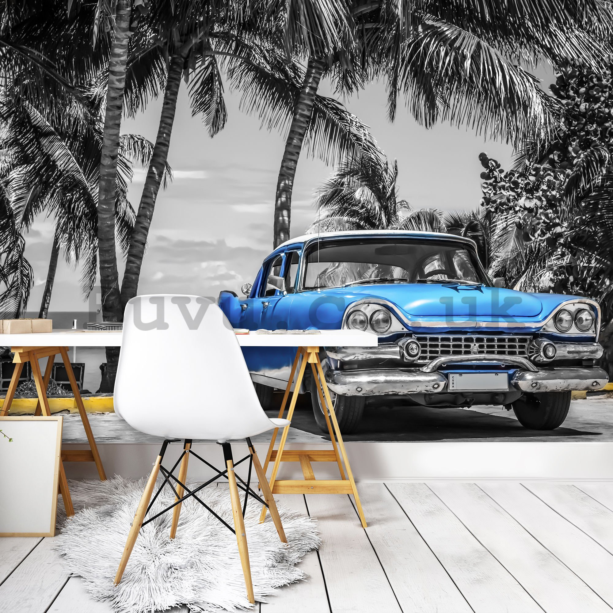 Wall mural vlies: Cuba blue car by the sea - 184x254 cm