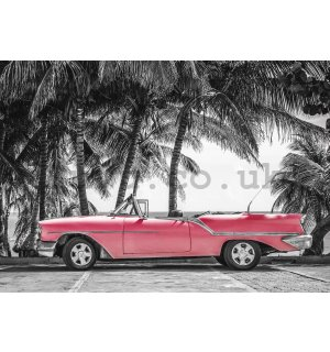 Wall mural vlies: Cuba red car - 254x368 cm