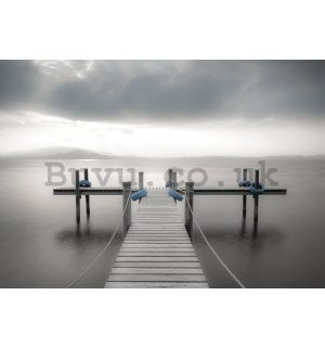 Wall mural: Wooden footbridge to the sea (black & white) - 104x152,5 cm