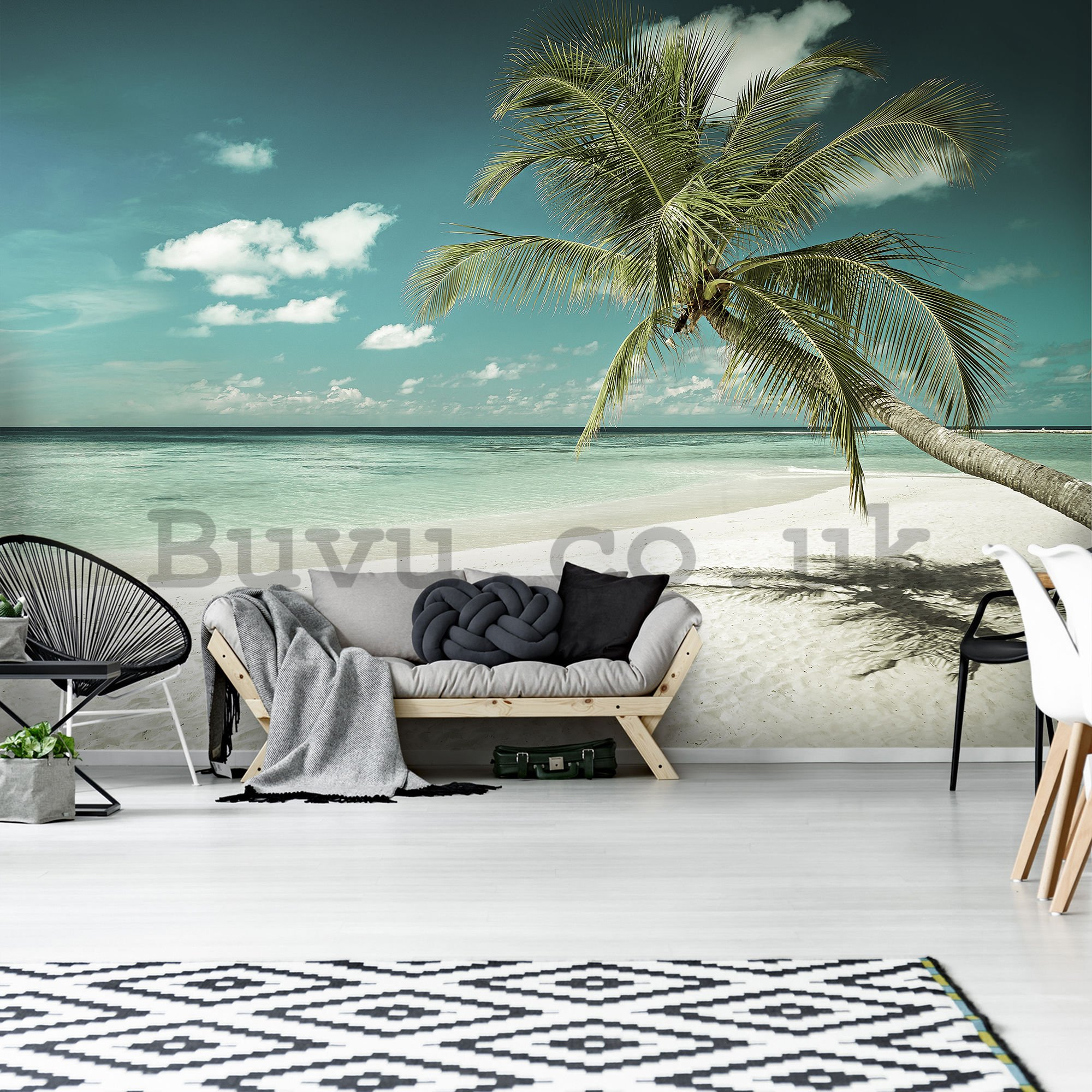 Wall mural: Palm tree over the sea - 184x254 cm