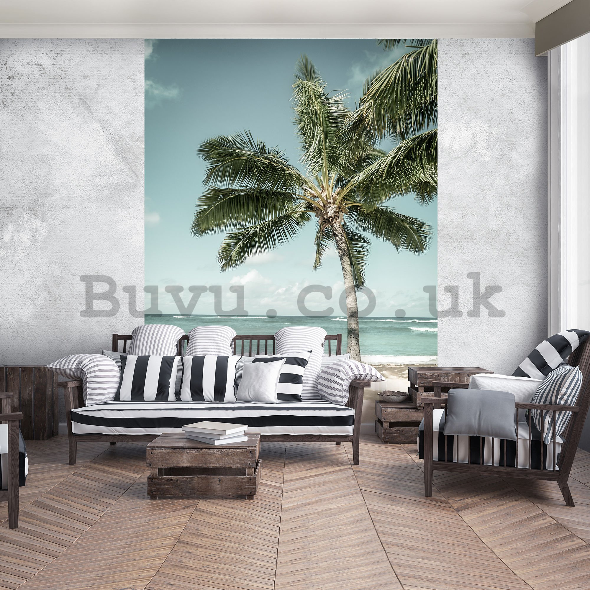 Wall mural: Palm tree by the sea - 254x184 cm