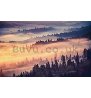 Wall mural: Fog over the mountains - 254x368 cm