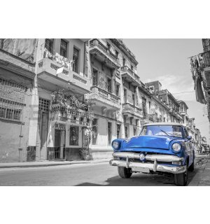 Wall mural vlies: Havana blue car - 254x368 cm
