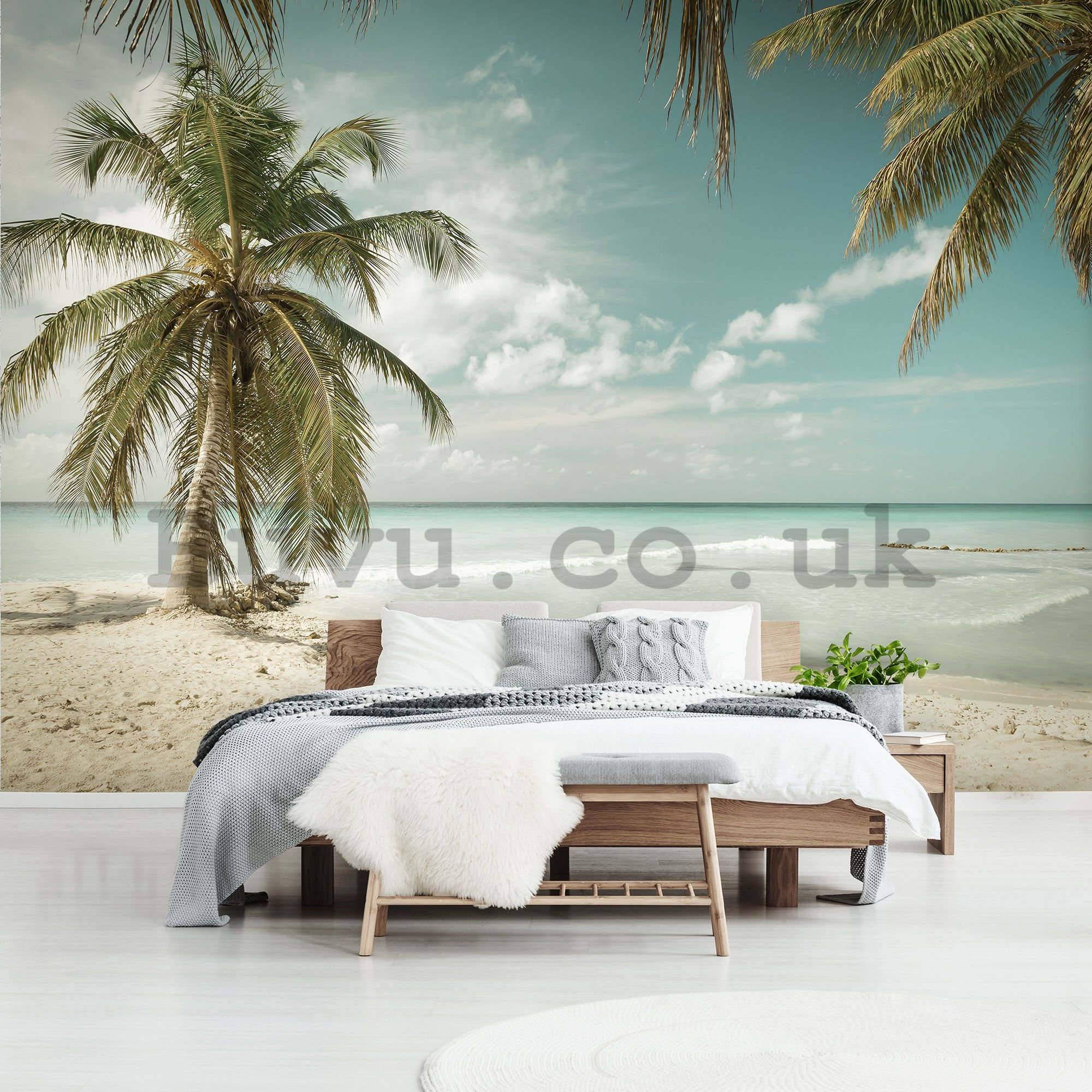Wall mural vlies: Palm trees over the sea - 254x368 cm