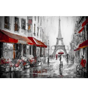 Wall mural vlies: Rainy weather near Eiffel Tower - 254x368 cm