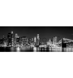 Wall mural: N.Y. at night (black & white) - 624x219 cm