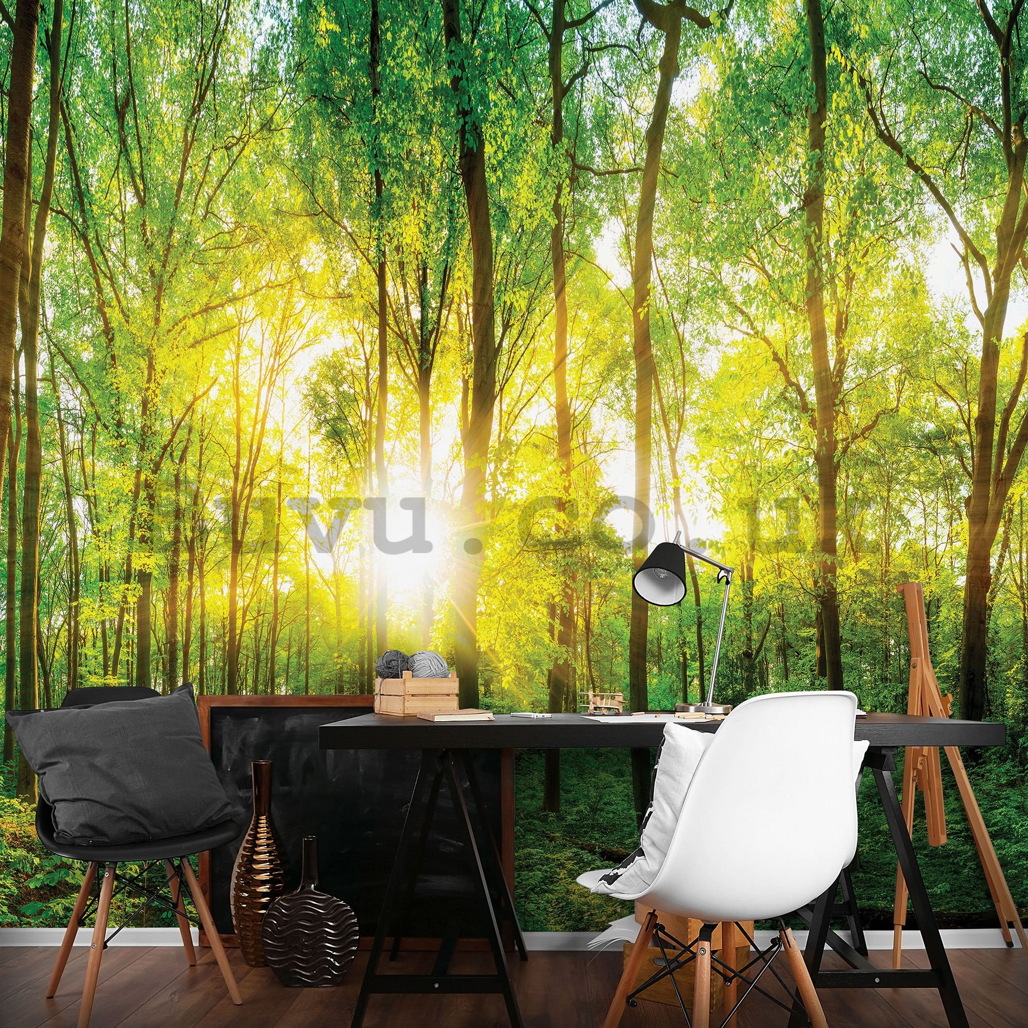 Wall mural: View through the forest - 104x152,5 cm