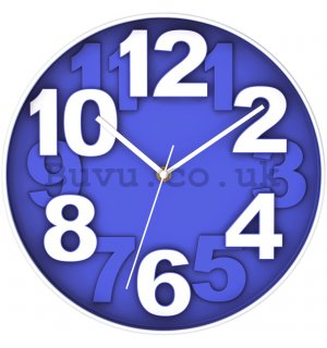 Wall clock: Blue (large numbers) - 30 cm