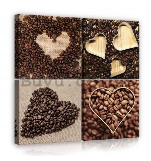 Painting on canvas: Heart coffee - set 4pcs 25x25cm