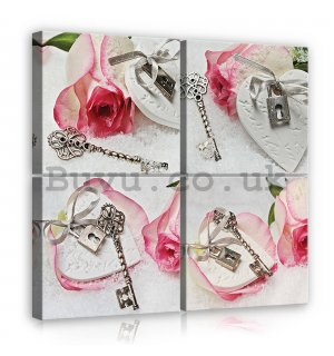 Painting on canvas: Rose with key - set 4pcs 25x25cm